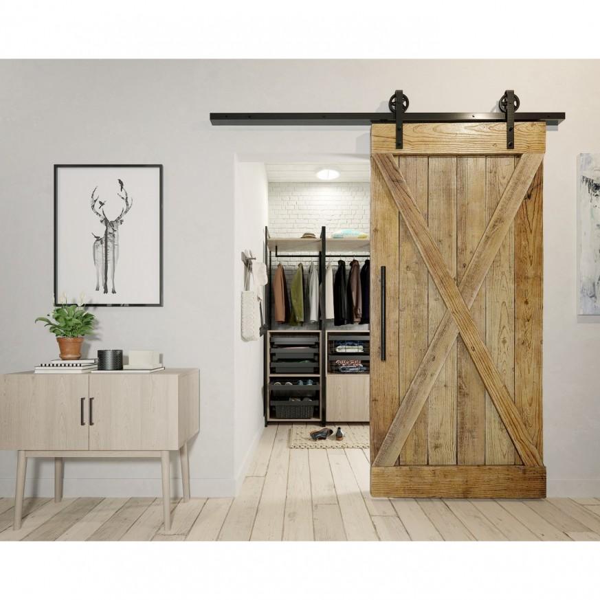 Механизъм за плъзгаща преградна врата с плавно затваряне в кънтри стил LOFT