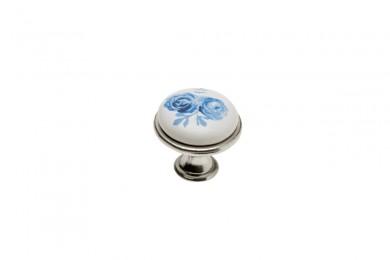 Дръжка J4 синьо цвете сребро антик