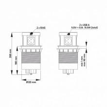 Разклонител за вграждане с 4 гнезда модел MULTI BOX, 2usb входа, Индукционно зарядно, Шуко, Черен
