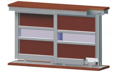 механизъм за плъзгащи врати с долно водене за плоскост и стъкло Y-023 i   инокс