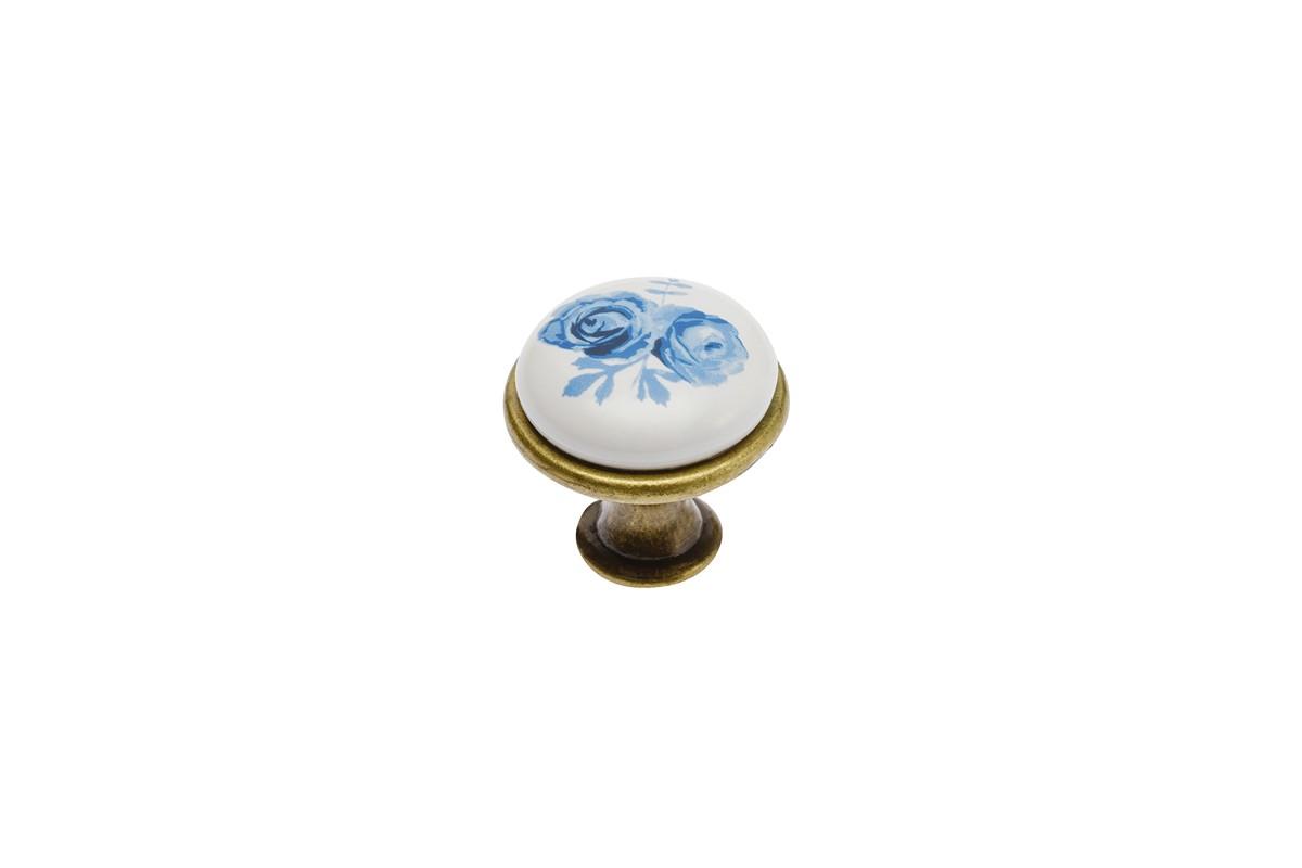 Дръжка J4 синьо цвете злато антик