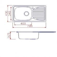 Мивка за вграждане Ecosink, 780x430x165, голям сифон, инокс   BL905