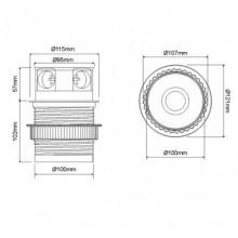 Разклонител за вграждане с 4 гнезда модел TETRA BOX, Евро стандарт, Алуминий