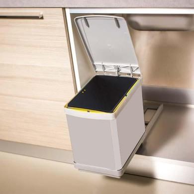 Кош за вграждане Romagna Plastic, 16 литра, изтеглящ, сив, с автоматично отваряне на капака