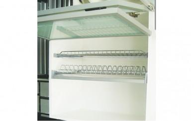 Поставка за чаши и чинии, 2 бр. PVC тавички, алум. рамка
