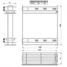 Кошница GTV за вграждане в шкаф 300 mm  с  пълно изтегляне и плавно прибиране