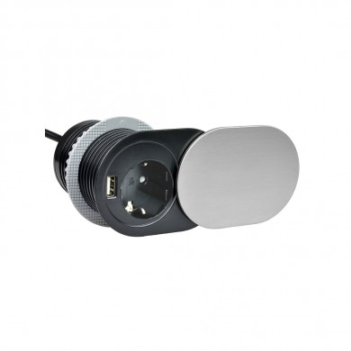 Контакт за вграждане с плъзгащ капак  -  1 гнездо и USB