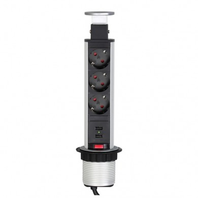 Вертикален контакт за вграждане в плот - 3 гнезда и 2 USB инокс