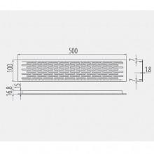 Решетка вентилационна алуминиева Инокс 100х500