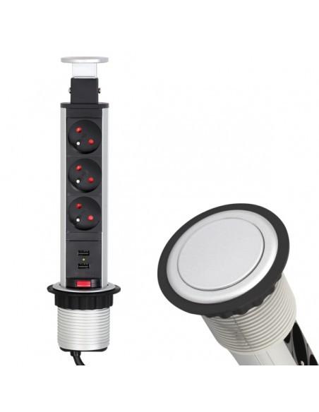 Вертикален контакт за вграждане в плот - 3 гнезда + 2 USB