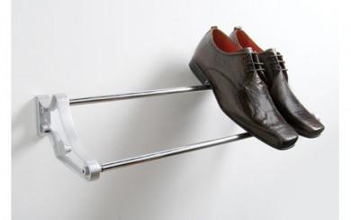 Поставка за обувки - регулираща - хром + черно PVC