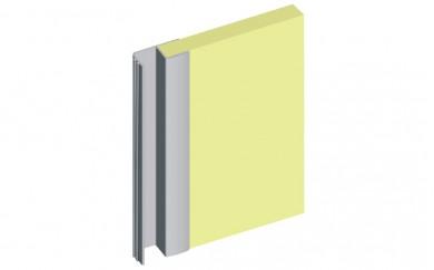 Алуминиева кант дръжка с четка за гардеробна врата - 18 mm