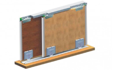 Механизъм за плъзгащи гардеробни врати до 60 кг.  INDAUX JUNIOR  инокс/гланц