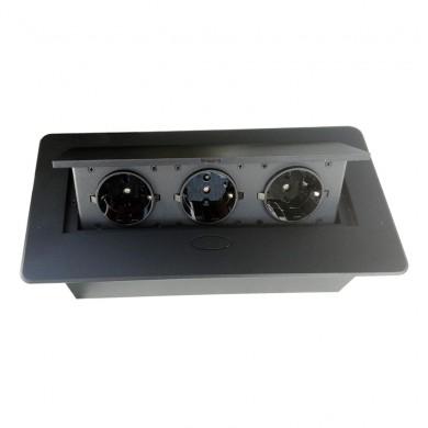 Контакт за вграждане в плот с Push open капак - черен