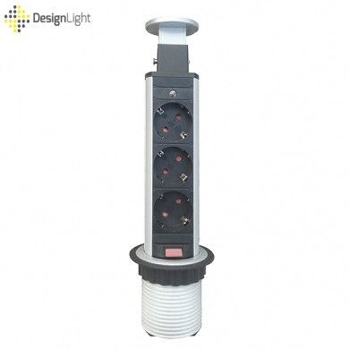 Вертикален контакт за вграждане в плот - 3 гнезда + 2 USB   сив металик
