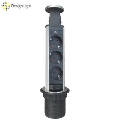 Вертикален контакт за вграждане в плот - 3 гнезда - инокс