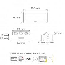 Разклонител/контакт DesignLight, за вграждане в плот с Push open капак и 2*USB, сив металик