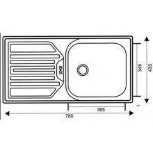 Мивка TR120  EKO   43.5х76 cm, 0.5 mm, 130 mm  малък  сифон