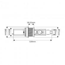 Вертикален контакт за вграждане в плот - 3 гнезда + 2 USB   бял