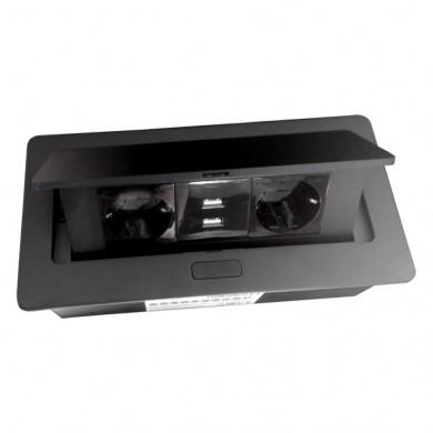 Контакт за вграждане в плот с Push open капак и USB - черен