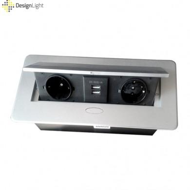 Контакт за вграждане в плот с Push open капак и USB - сив металик
