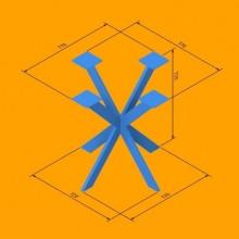 Метална основа за маса с четири лъча - Спайдър 70 H720