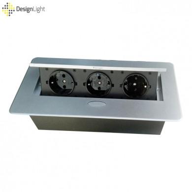 Контакт за вграждане в плот с Push open капак - сив металик