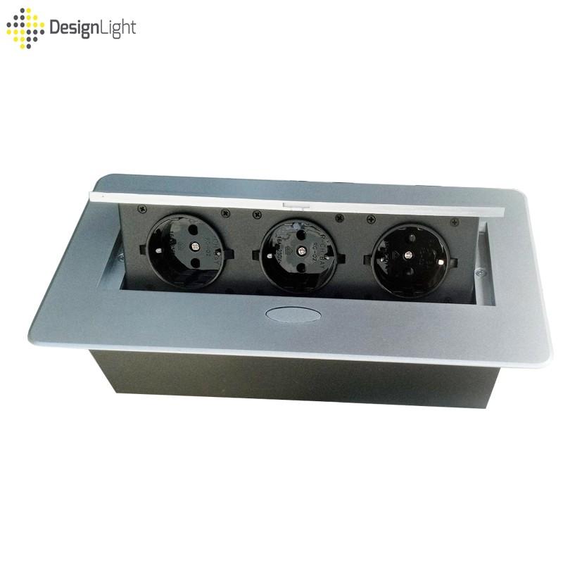 Разклонител/контакт DesignLight, за вграждане в плот с Push open капак, Сив металик