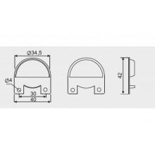 Скрит окачвач  Ø35   за табли метален
