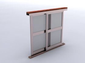 Система за плъзгащи гардербни врати за стъкло и 18mm ПДЧ  - мат хром
