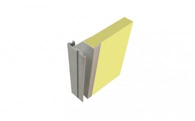 Алуминиева кант дръжка с перо за фуга за гардеробна врата - 18 mm