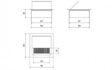 Кабел канал алуминиев 80 х 80 mm